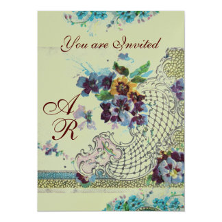 ROMANTİCA  2 MONOGRAM SILVER Metallic Paper 14 Cm X 19 Cm Invitation Card