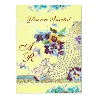 ROMANTİCA  2 MONOGRAM yellow 14 Cm X 19 Cm Invitation Card