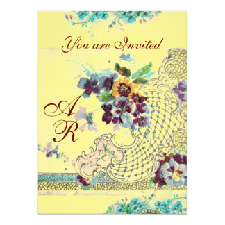 ROMANTİCA  2 MONOGRAM yellow,linen 14 Cm X 19 Cm Invitation Card