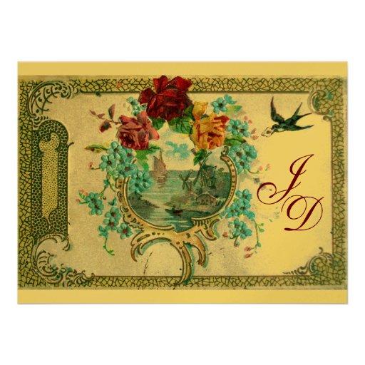 ROMANTİCA 3 MONOGRAM gold metallic paper Custom Invitations