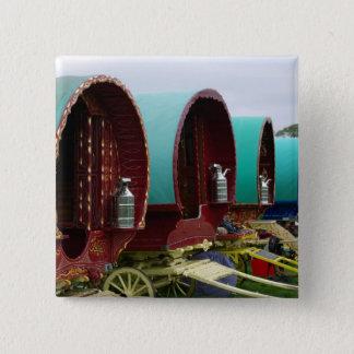 Romany gypsy caravans 15 cm square badge