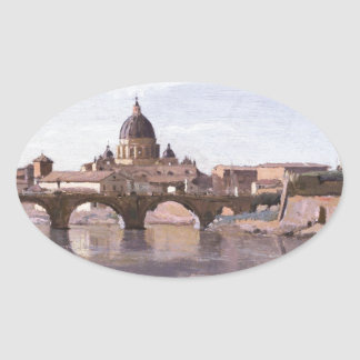 Rome, Castle Sant Angelo by Camille Corot Oval Sticker