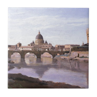 Rome, Castle Sant Angelo by Camille Corot Tile