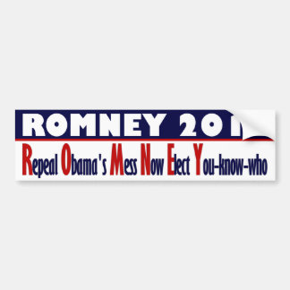 Romney 2012 - Repeal Obama's Mess Now Bumper Stickers