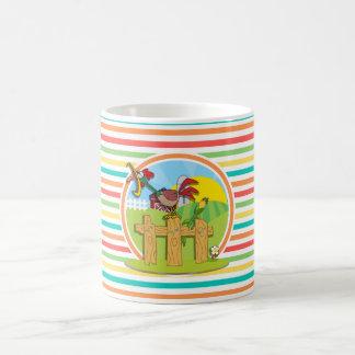 Rooster Bright Rainbow Stripes Coffee Mug