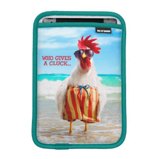 Rooster Dude Chillin' at Beach in Swim Trunks iPad Mini Sleeve