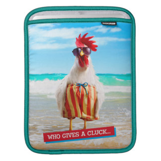 Rooster Dude Chillin' at Beach in Swim Trunks Sleeves For iPads