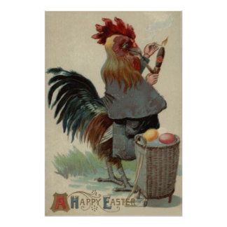 Rooster Easter Colored Egg Pipe Cigar Print