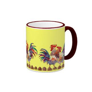 ROOSTER FENCE by SHARON SHARPE Ringer Mug