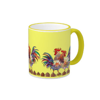 ROOSTER FENCE by SHARON SHARPE Ringer Coffee Mug