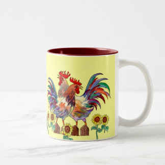 ROOSTER SUNFLOWER CUP by SHARON SHARPE Coffee Mugs