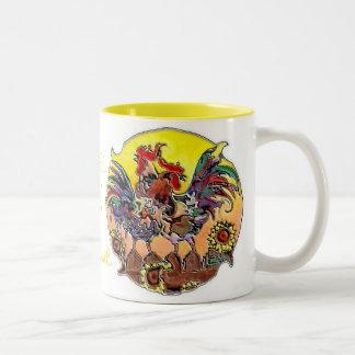 ROOSTERS by SHARON SHARPE Two-Tone Coffee Mug