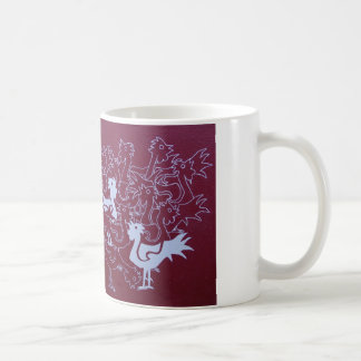 Roosters on hessian painting print, mug