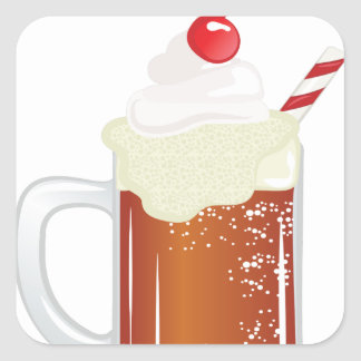 Root Beer Float Square Sticker