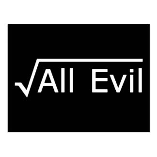 Root of All Evil - Funny Math Expression Postcard
