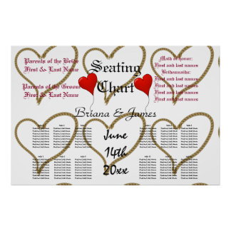 Rope Hearts Wedding Seating Chart Bride Groom Poster