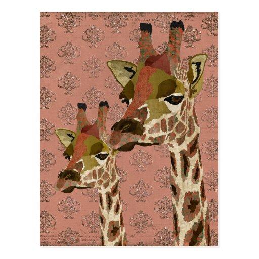 Rosa Giraffes Glitzy  Postcard