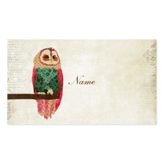 Rosa Vintage Owl Business Card/Tags Pack Of Standard Business Cards