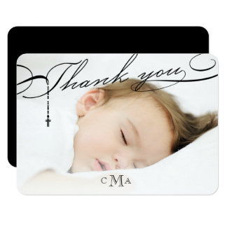 Rosary Cross Monogram Scripted Religious Thank You Card