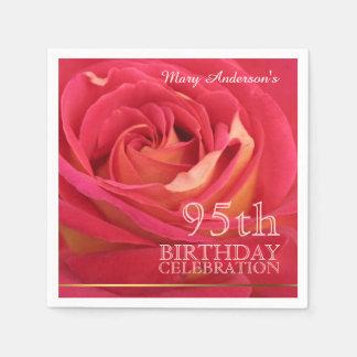 Rose 95th Birthday Celebration Paper Napkins -2- Standard Cocktail Napkin