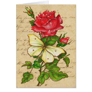Rose and Butterfly Note Greeting Card