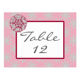 Rose and Dove Grey Table Number Cards Postcard