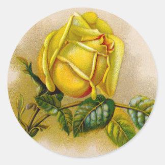 Rose Antique Yellow Flower Classic Round Sticker