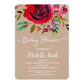 Rose Baby Shower Invitation, Kraft Baby Invitation