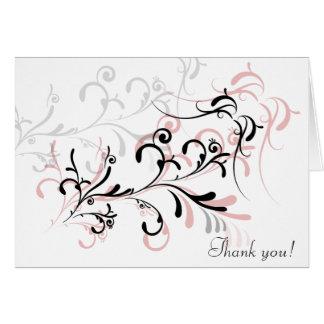 Rose Black Swirls Thank You Note Card