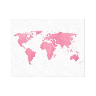 World map canvas prints wall art zazzle rose blush world map canvas print gumiabroncs Choice Image