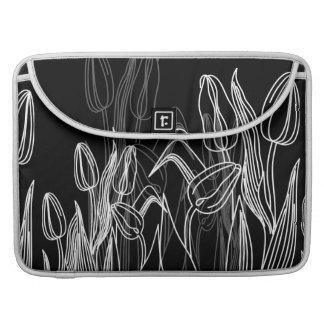 Rose Buds on Black Sleeve For MacBooks
