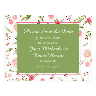 Rose Floral and Green Wedding Save the Date Postcard