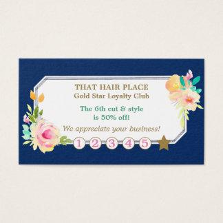Rose Floral Border Hair Style Salon Loyalty Card