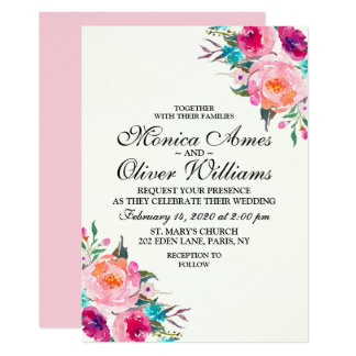 Rose Floral Watercolor Chic Wedding Invitation