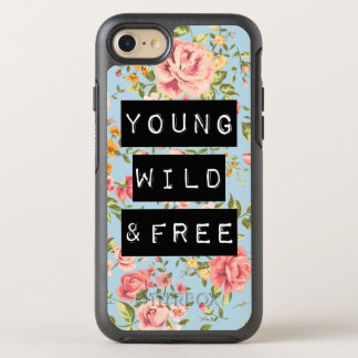 Rose Floral Young Wild and Free Life Quote OtterBox Symmetry iPhone 8/7 Case