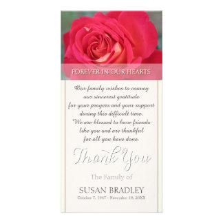 Rose Forever in Our Hearts Sympathy Thank You Photo Card Template
