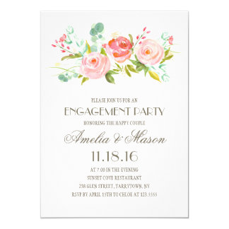 Rose Garden | Engagement Party 13 Cm X 18 Cm Invitation Card