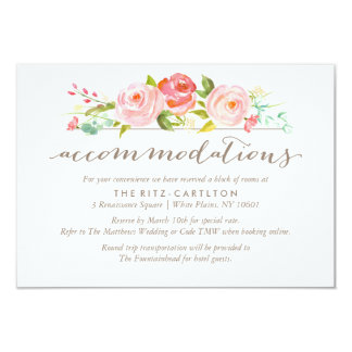 Rose Garden Floral Accommodations Wedding Card
