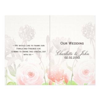 Rose Garden Modern Floral wedding program 21.5 Cm X 28 Cm Flyer