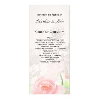 Rose Garden Modern Floral wedding programs Full Colour Rack Card