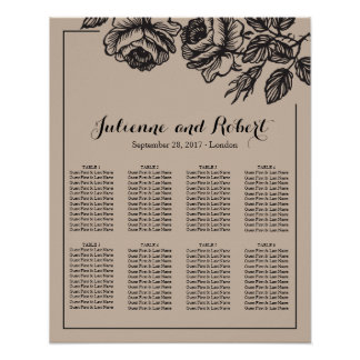 Rose Garden | Rustic Wedding Seating Chart Poster
