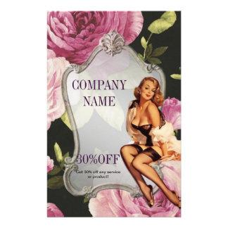 rose girly makeup artist retro fashion 14 cm x 21.5 cm flyer