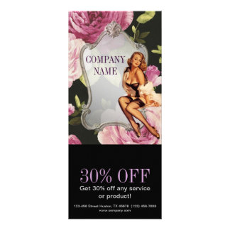 rose girly makeup artist retro fashion custom rack cards
