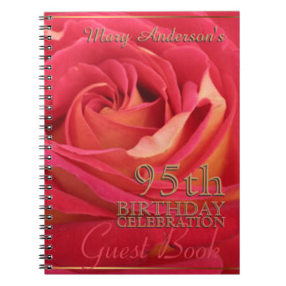 Rose Gold 95th Birthday Celebration Guest Book Spiral Note Books