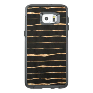 Rose-Gold Abstract Stripes Pattern On Black OtterBox Samsung Galaxy S6 Edge Plus Case