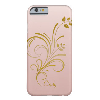 Rose Gold and Floral Swirls Monogram iPhone 6 case