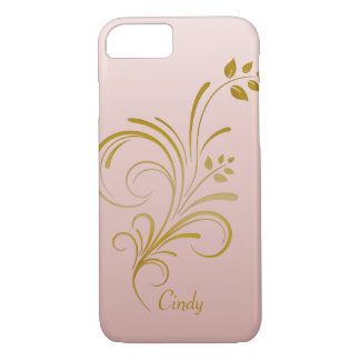 Rose Gold and Floral Swirls Monogram iPhone 7 case