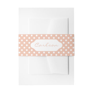 Rose gold/blush pink & white polka dots belly band invitation belly band
