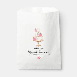 Rose Gold Cake Tea Party Bridal Shower Favor Bags