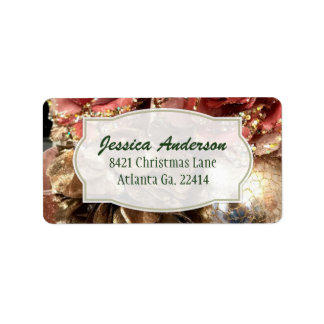 Rose Gold Christmas Address Stickers